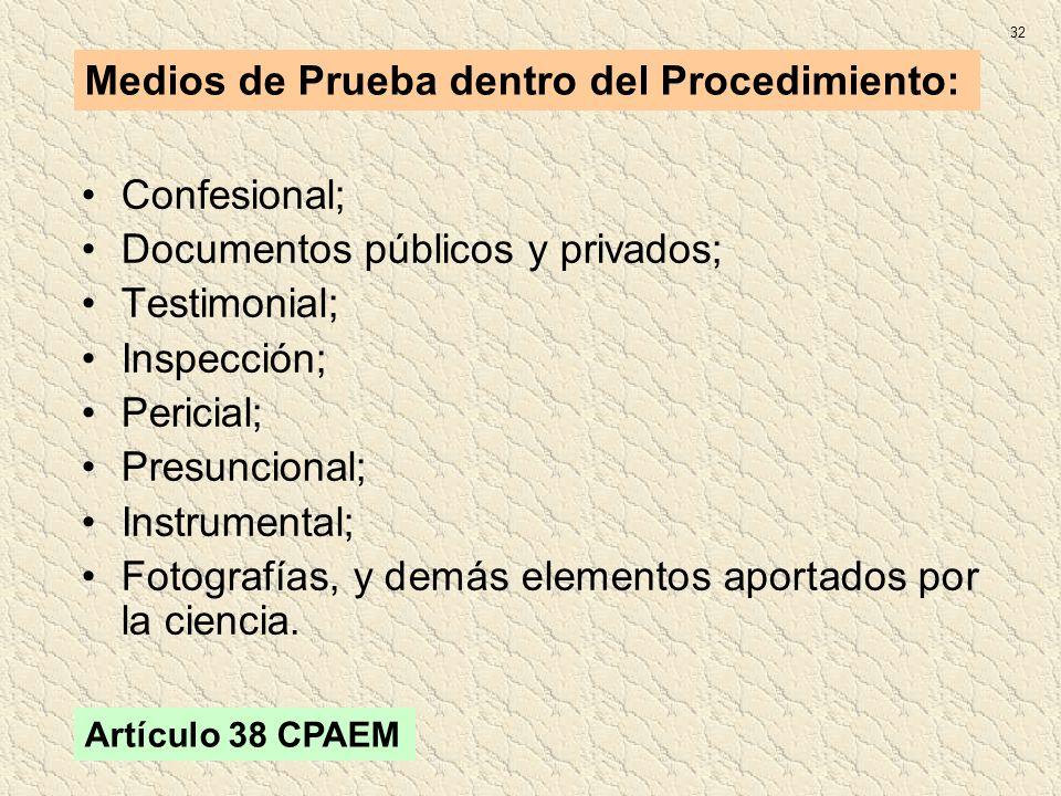 Medios de Prueba dentro del Procedimiento:
