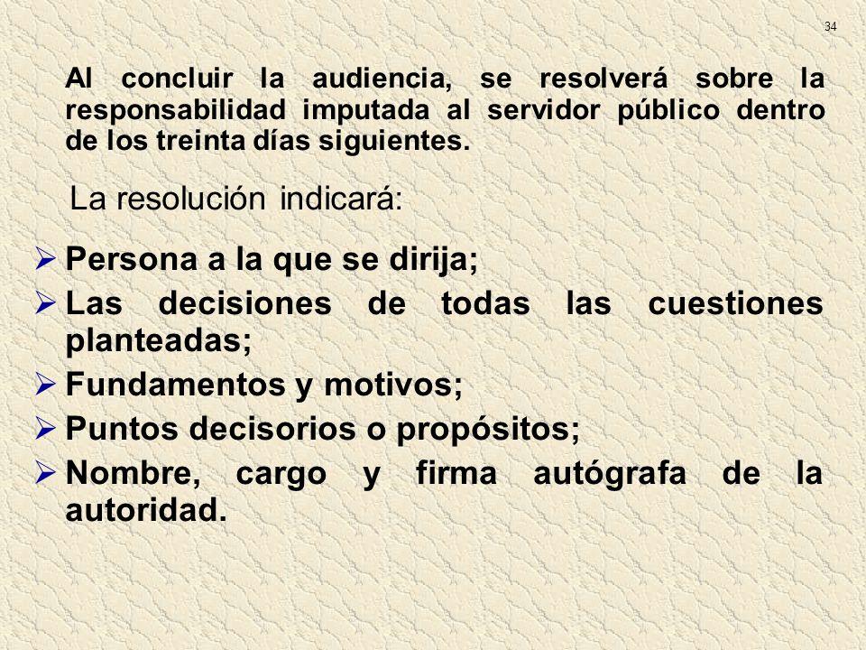 La resolución indicará: Persona a la que se dirija;