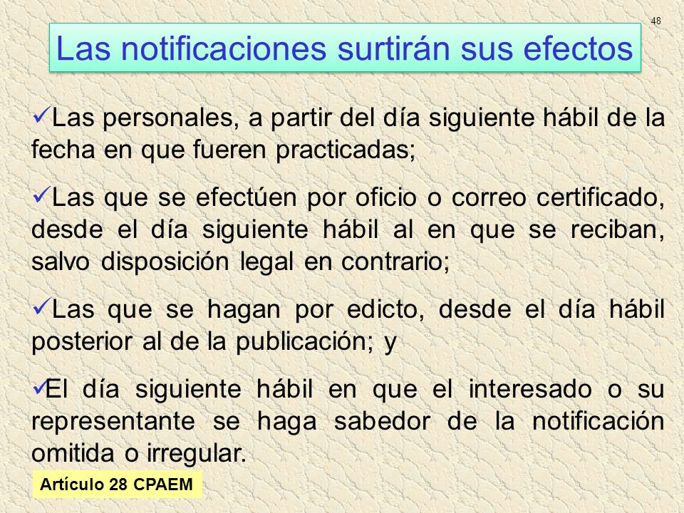 Las notificaciones surtirán sus efectos