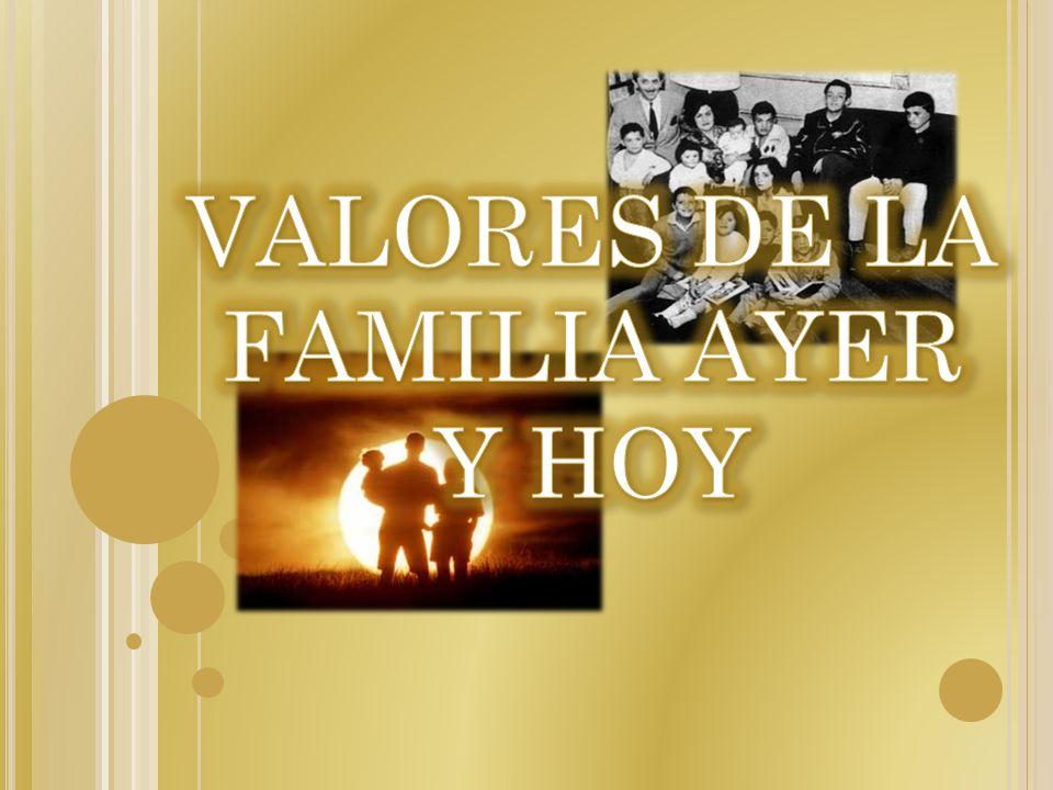 VALORES DE LA FAMILIA AYER Y HOY