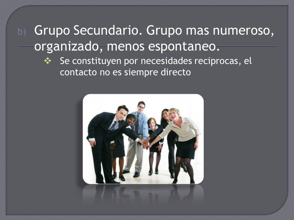 Grupo Secundario. Grupo mas numeroso, organizado, menos espontaneo.