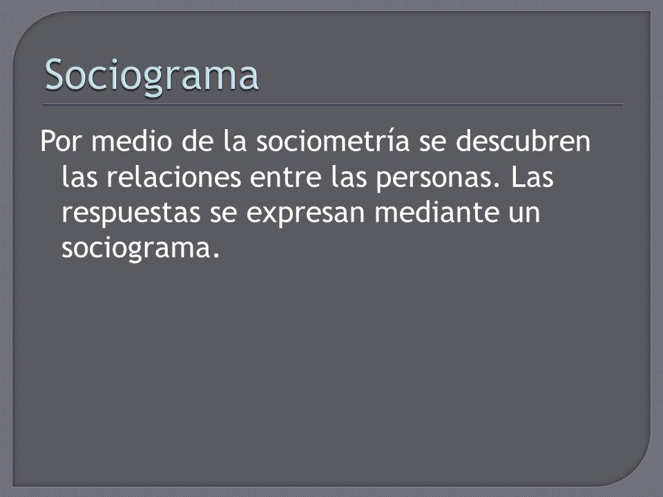 Sociograma Por medio de la sociometría se descubren las relaciones entre las personas.