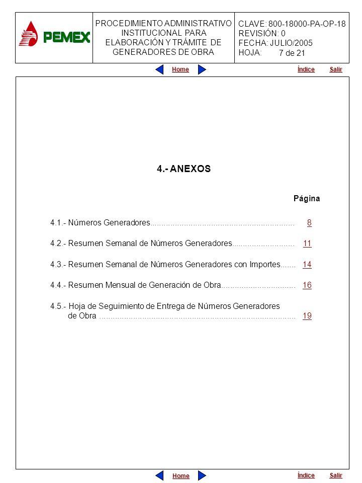 7 de 214.- ANEXOS. Página. 4.1.- Números Generadores................................................................ 8.