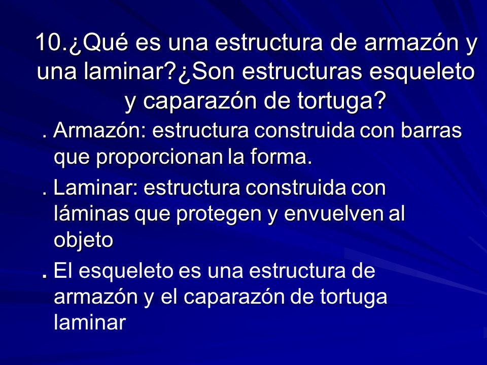 10. ¿Qué es una estructura de armazón y una laminar