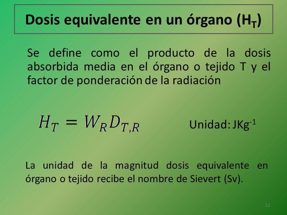 Dosis equivalente en un órgano (HT)