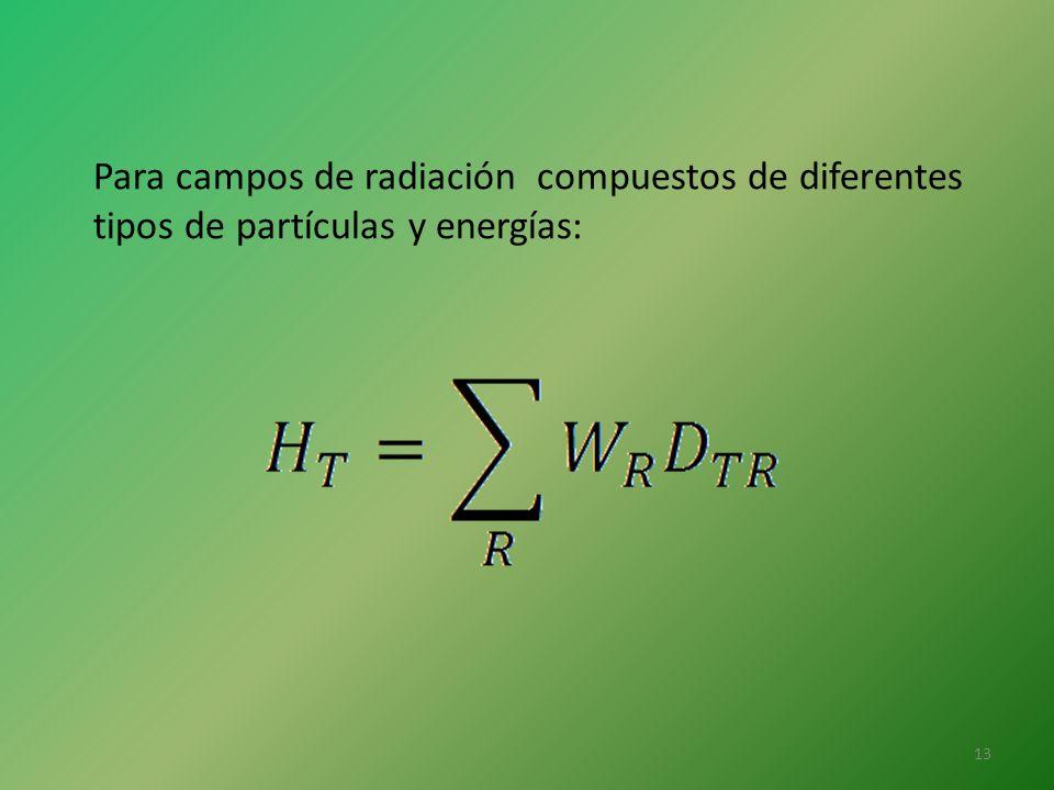 Para campos de radiación compuestos de diferentes
