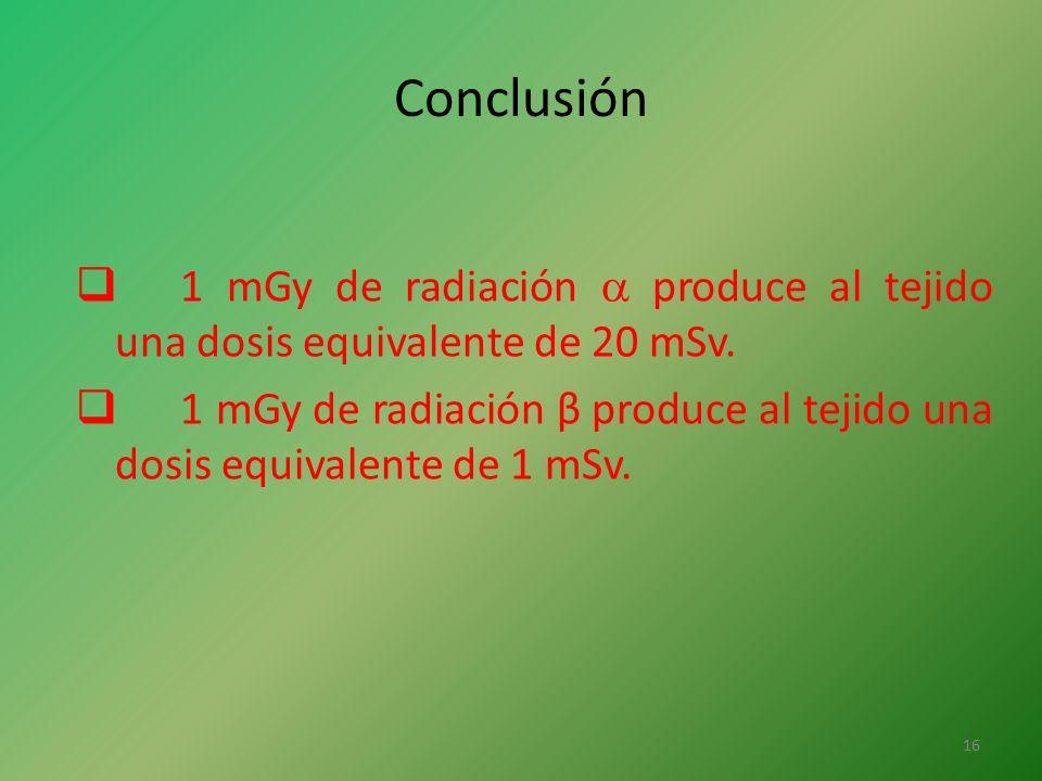 Conclusión 1 mGy de radiación  produce al tejido una dosis equivalente de 20 mSv.
