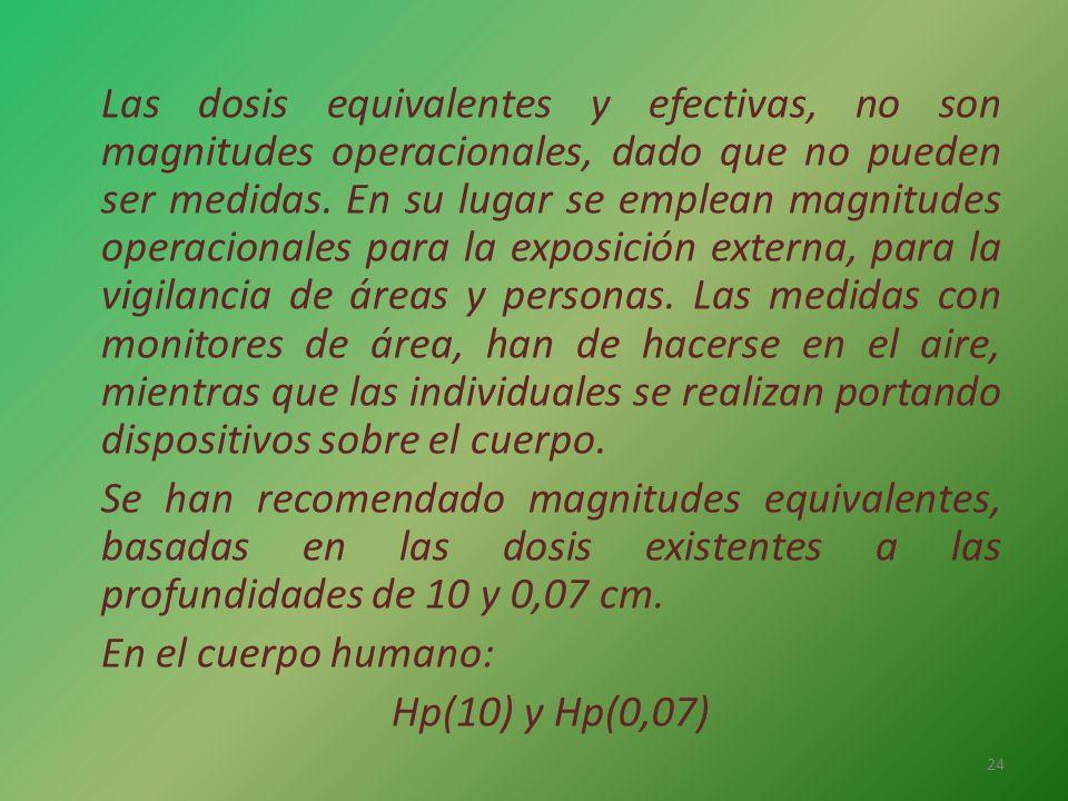Las dosis equivalentes y efectivas, no son magnitudes operacionales, dado que no pueden ser medidas.