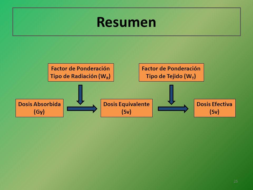 Resumen Factor de Ponderación Tipo de Radiación (WR)