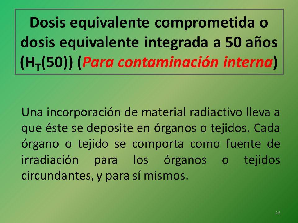 Dosis equivalente comprometida o dosis equivalente integrada a 50 años (HT(50)) (Para contaminación interna)