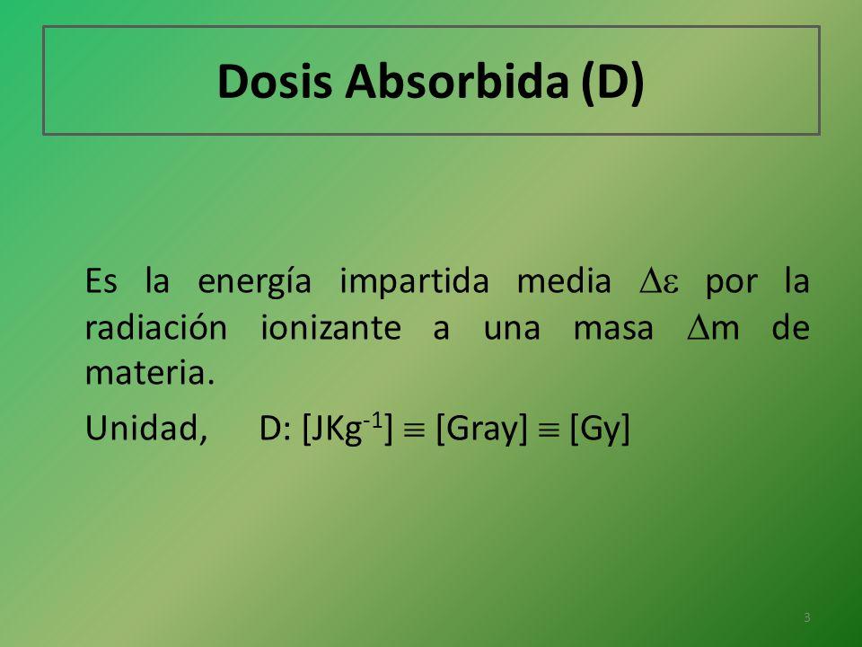 Dosis Absorbida (D) Es la energía impartida media  por la radiación ionizante a una masa m de materia.