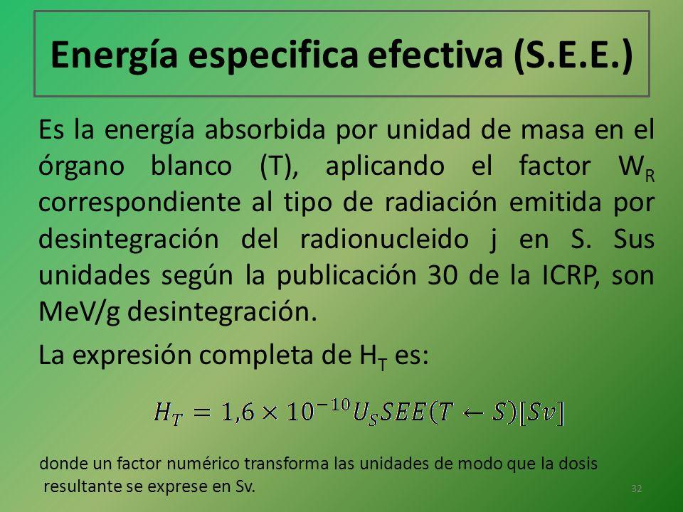 Energía especifica efectiva (S.E.E.)