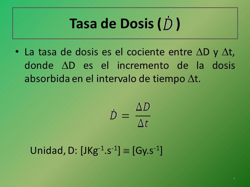 Tasa de Dosis ( ) La tasa de dosis es el cociente entre D y t, donde D es el incremento de la dosis absorbida en el intervalo de tiempo t.