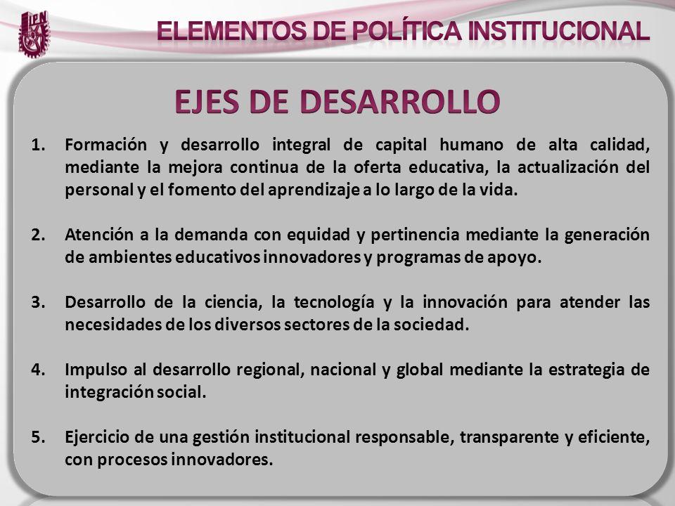 EJES DE DESARROLLO ELEMENTOS DE POLÍTICA INSTITUCIONAL (PROPUESTA)