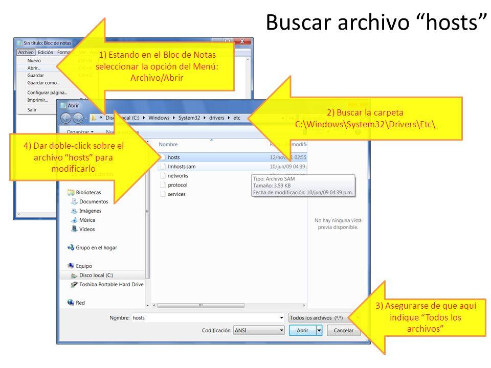Buscar archivo hosts