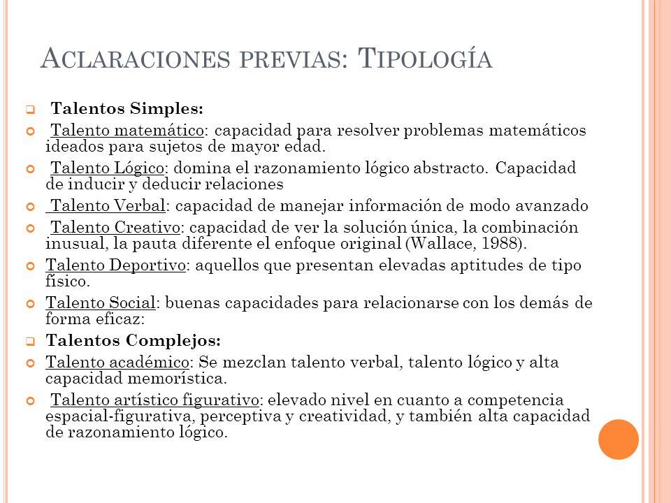 Aclaraciones previas: Tipología