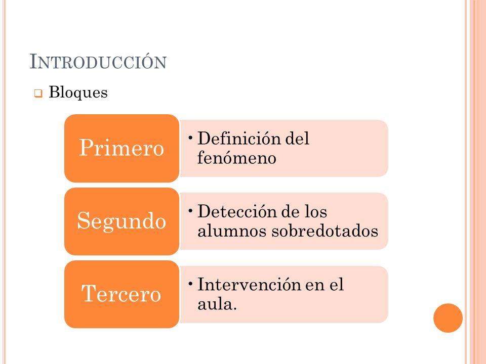 Introducción Bloques Primero Definición del fenómeno Segundo