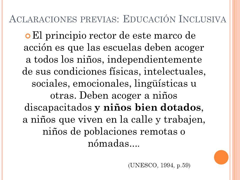 Aclaraciones previas: Educación Inclusiva