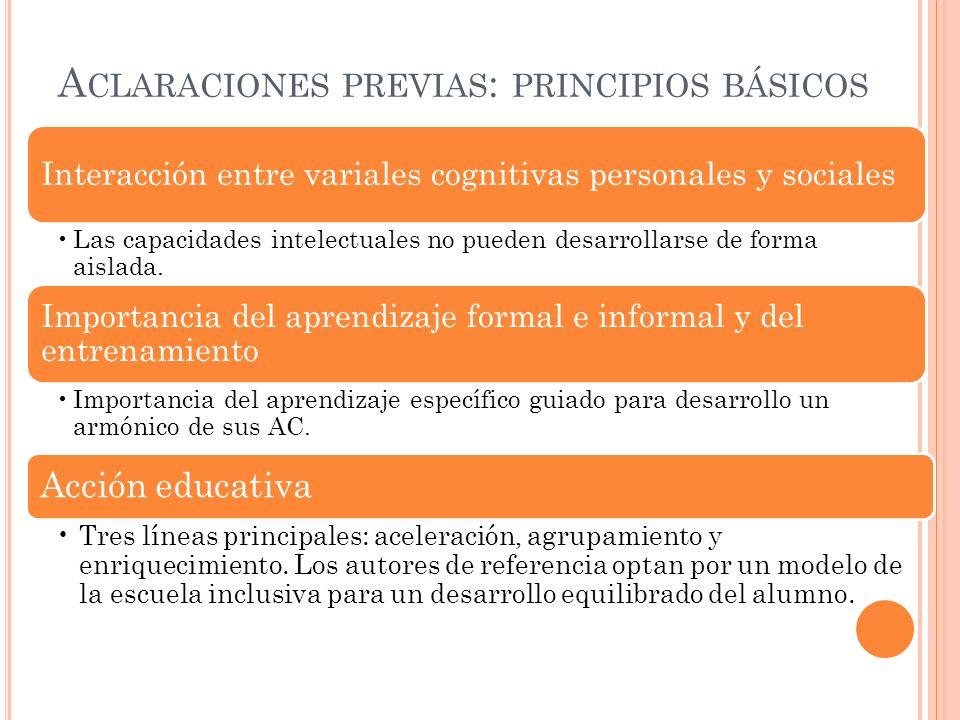 Aclaraciones previas: principios básicos