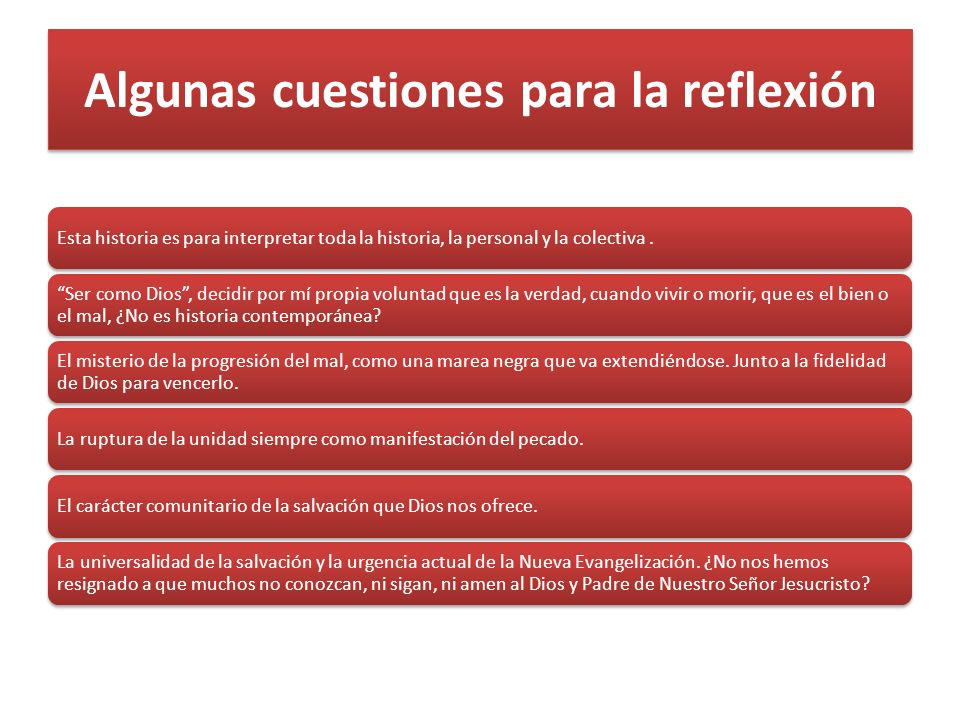 Algunas cuestiones para la reflexión