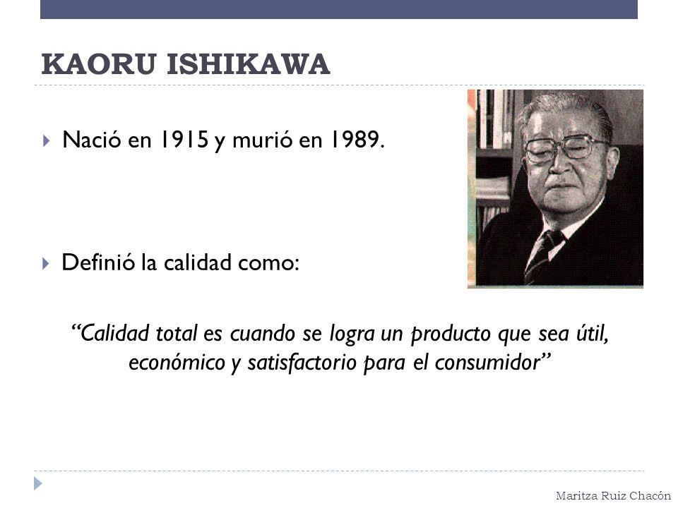 KAORU ISHIKAWA Nació en 1915 y murió en 1989. Definió la calidad como: