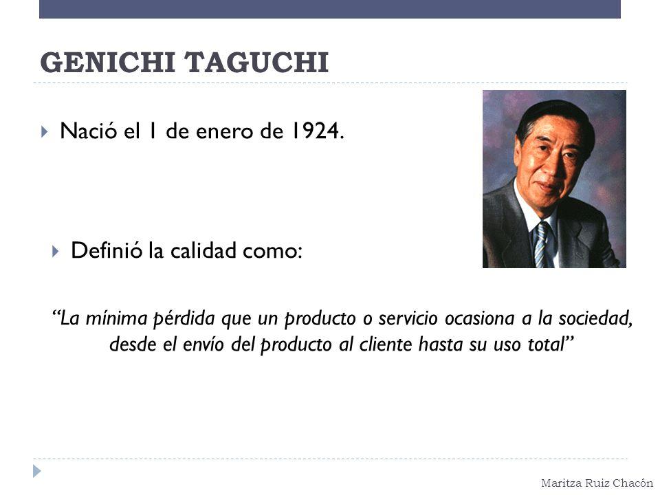 GENICHI TAGUCHI Nació el 1 de enero de 1924. Definió la calidad como: