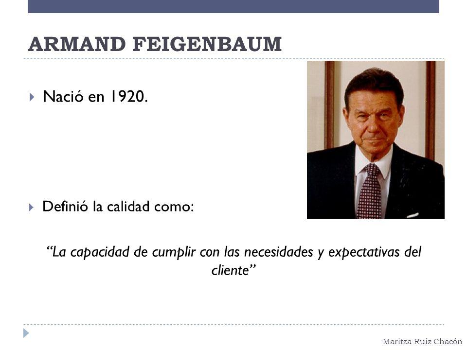 ARMAND FEIGENBAUM Nació en 1920. Definió la calidad como: