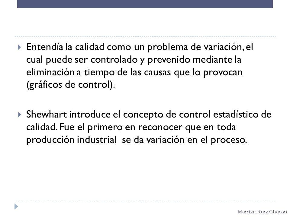 Entendía la calidad como un problema de variación, el cual puede ser controlado y prevenido mediante la eliminación a tiempo de las causas que lo provocan (gráficos de control).