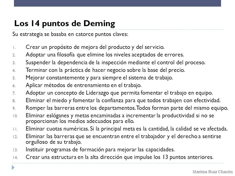 Los 14 puntos de Deming Su estrategia se basaba en catorce puntos claves: Crear un propósito de mejora del producto y del servicio.