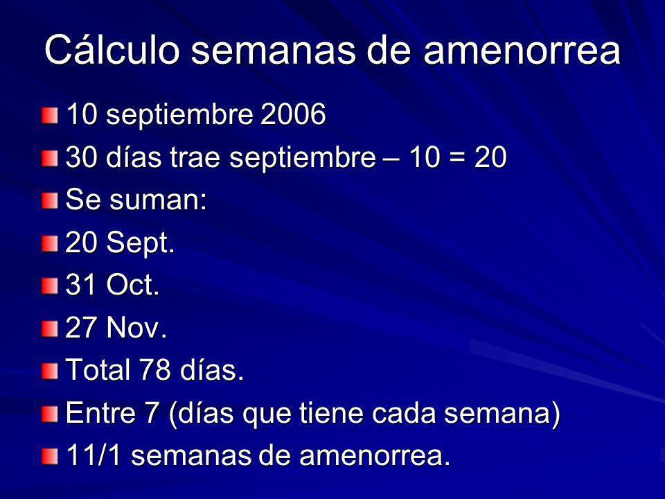 Cálculo semanas de amenorrea