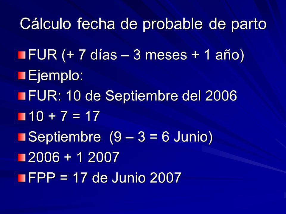 Cálculo fecha de probable de parto