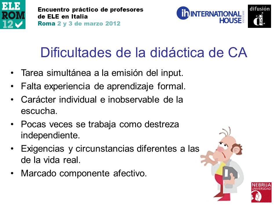 Dificultades de la didáctica de CA
