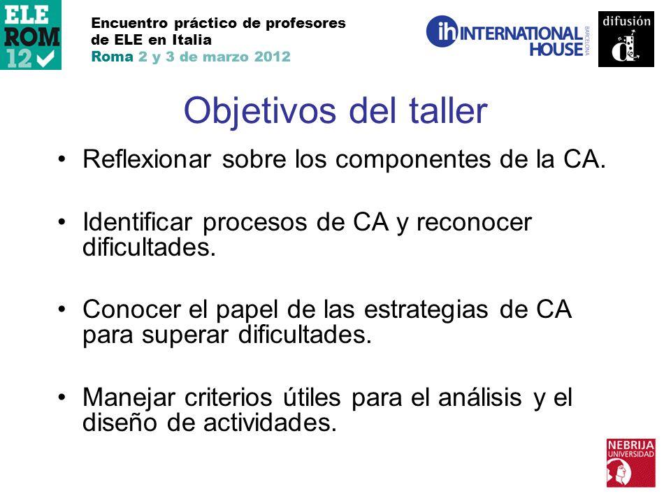 Objetivos del taller Reflexionar sobre los componentes de la CA.