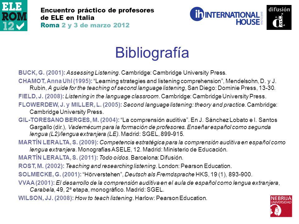 Bibliografía Encuentro práctico de profesores de ELE en Italia