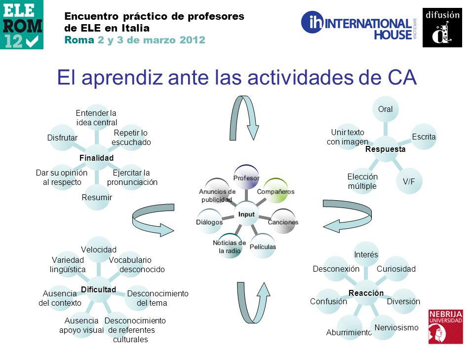 El aprendiz ante las actividades de CA