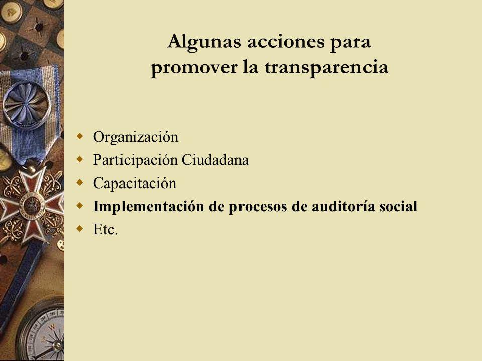 Algunas acciones para promover la transparencia