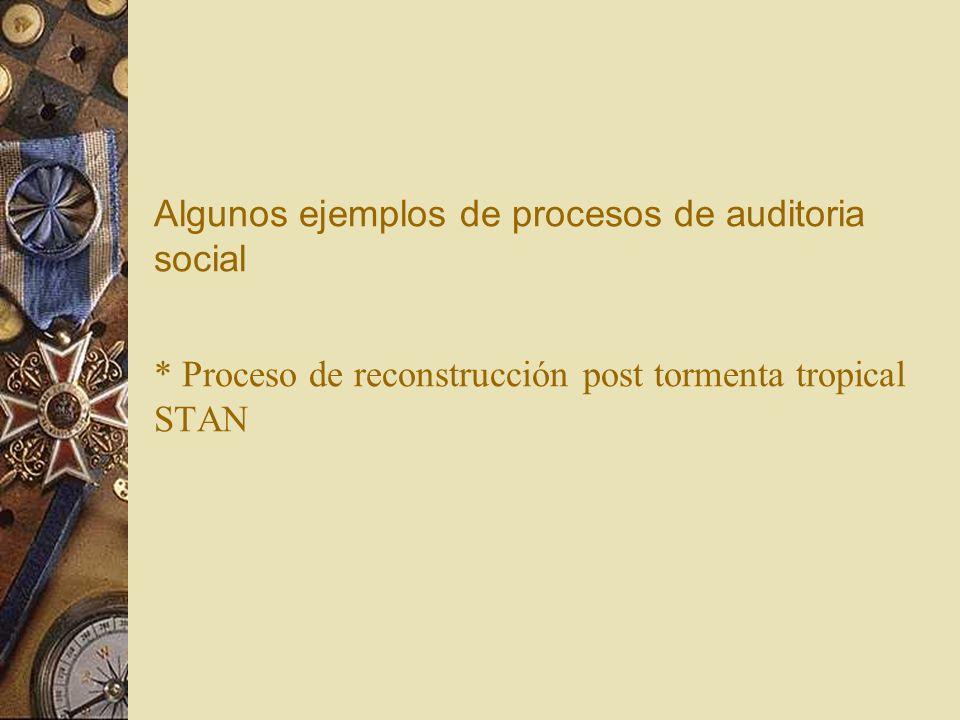 Algunos ejemplos de procesos de auditoria social