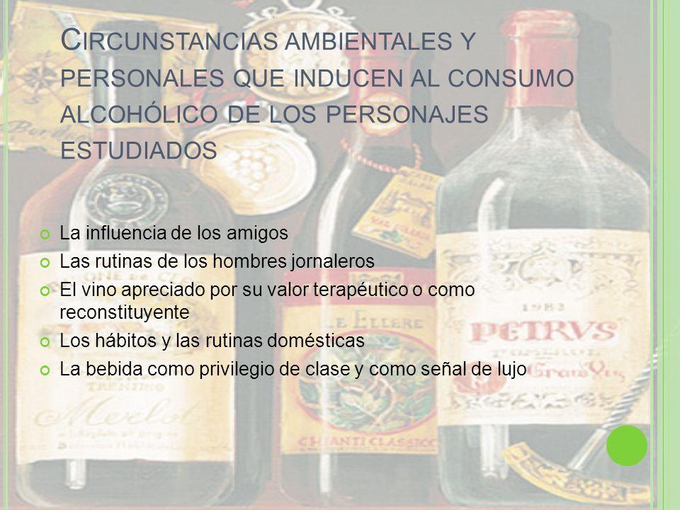 Circunstancias ambientales y personales que inducen al consumo alcohólico de los personajes estudiados