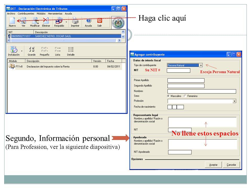 Segundo, Información personal