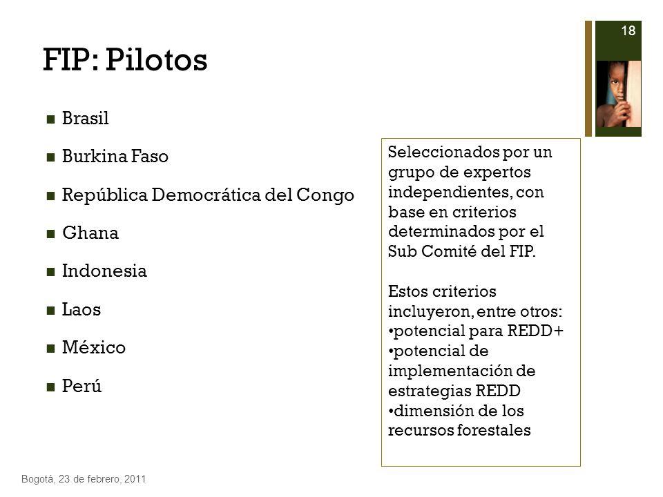 FIP: Pilotos Brasil Burkina Faso República Democrática del Congo Ghana