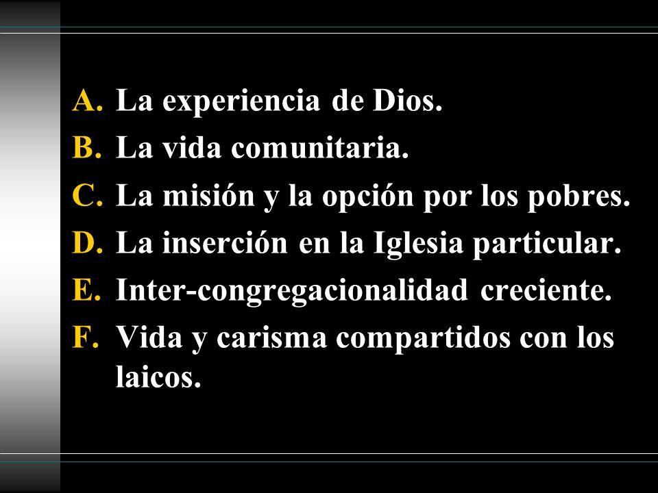 La experiencia de Dios. La vida comunitaria. La misión y la opción por los pobres. La inserción en la Iglesia particular.