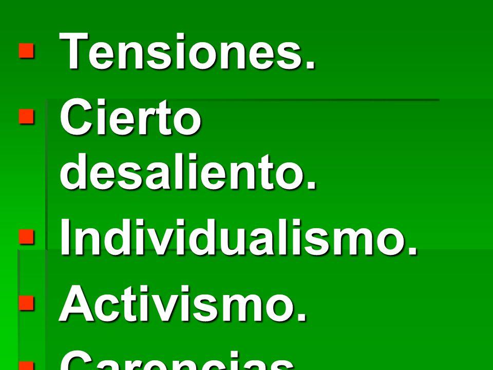 Tensiones. Cierto desaliento. Individualismo. Activismo. Carencias comunitaria.