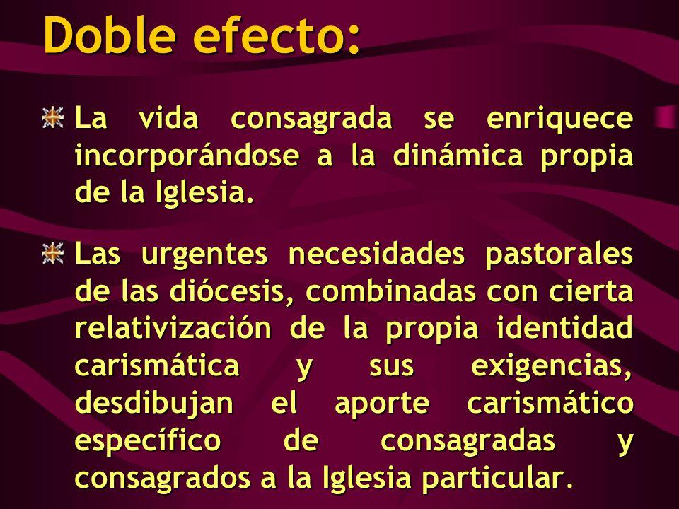 Doble efecto: La vida consagrada se enriquece incorporándose a la dinámica propia de la Iglesia.