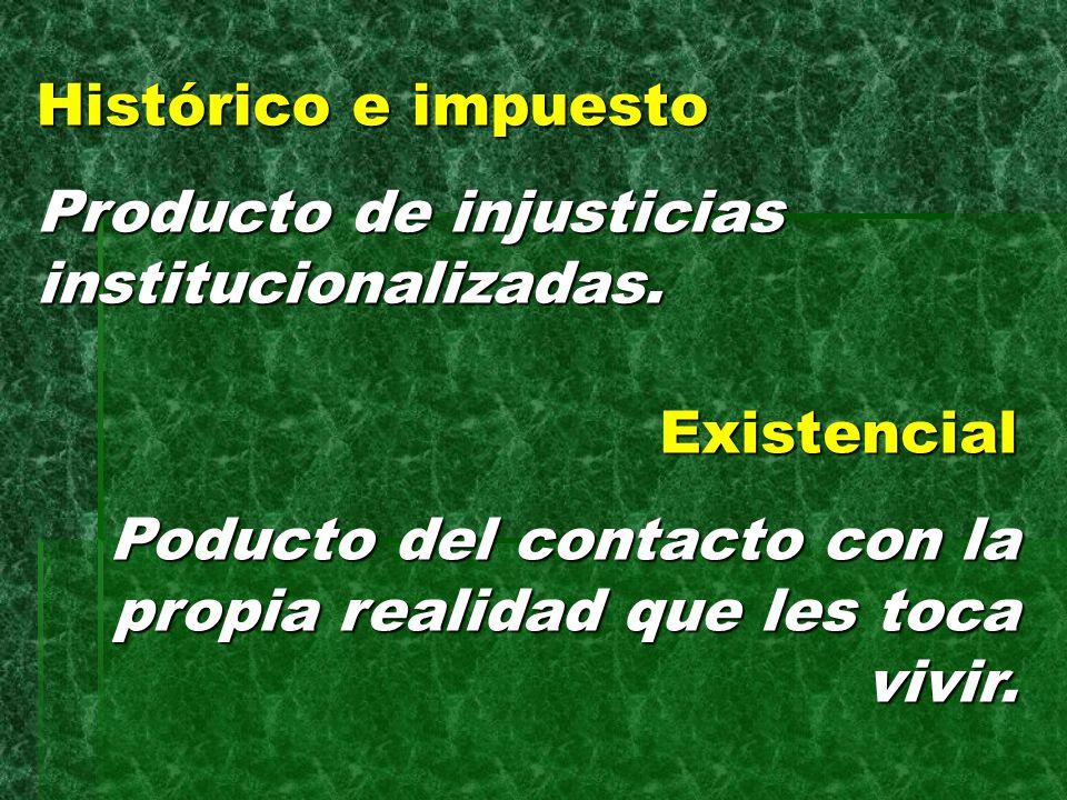 Histórico e impuesto Producto de injusticias institucionalizadas.