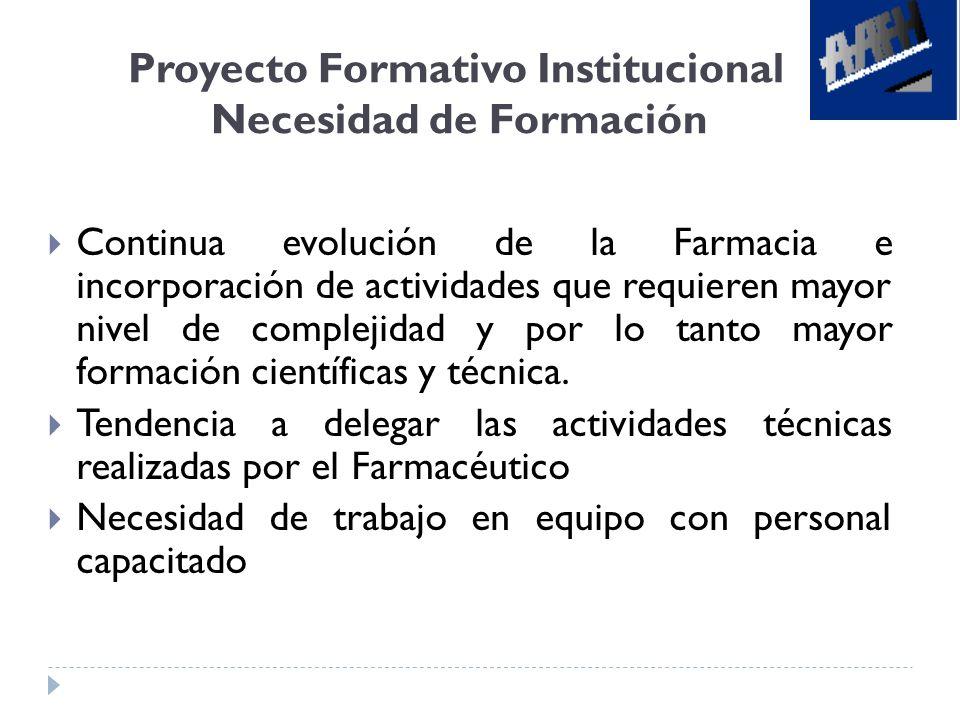 Proyecto Formativo Institucional Necesidad de Formación
