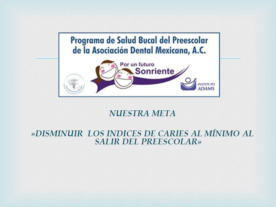 »DISMINUIR LOS INDICES DE CARIES AL MÍNIMO AL SALIR DEL PREESCOLAR»