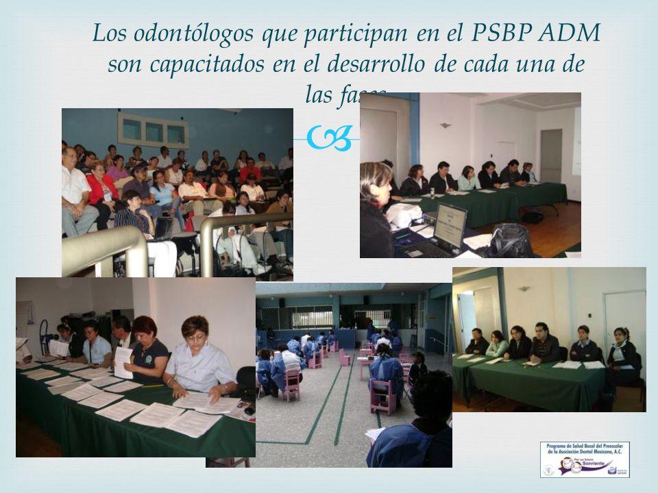 Los odontólogos que participan en el PSBP ADM son capacitados en el desarrollo de cada una de las fases