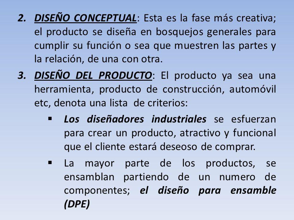 DISEÑO CONCEPTUAL: Esta es la fase más creativa; el producto se diseña en bosquejos generales para cumplir su función o sea que muestren las partes y la relación, de una con otra.