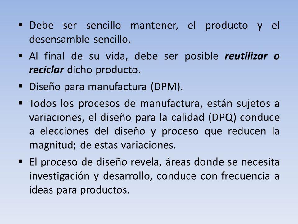 Debe ser sencillo mantener, el producto y el desensamble sencillo.