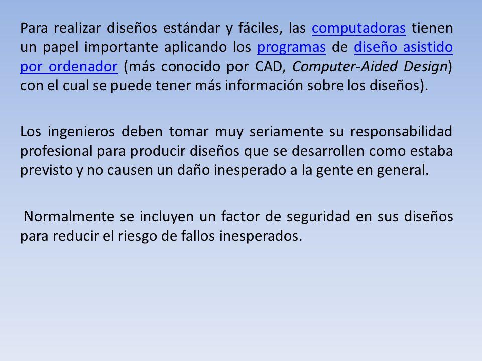 Para realizar diseños estándar y fáciles, las computadoras tienen un papel importante aplicando los programas de diseño asistido por ordenador (más conocido por CAD, Computer-Aided Design) con el cual se puede tener más información sobre los diseños).
